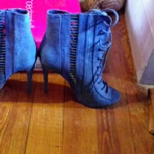 Demin open- toed ankle boots